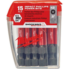 Milwaukee #2 Philips 2 inch Impact Duty Steel Driver Driving Drill Bits 15 Pack