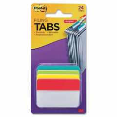 Post-it Tabs, 2 in. Angled Solid, 4-Colors, 24-Tabs File Folder Sheet Protector