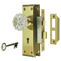 NEW Antique Bronze Victorian Glass Interior Door Knob Mortise Lock Set 3 COLORS