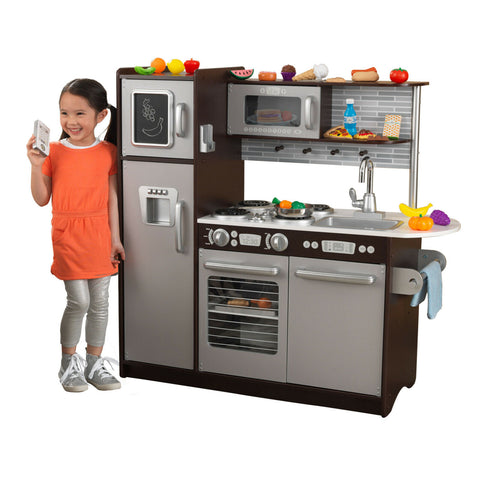 Kitchen Pretend Cooking Set Espresso Wooden w/ Play Food Toy Chef Girl Boy Gift