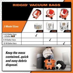 Ridgid Dust Bags Shop Vac Vacuum Cleaner 12-16 Gal. Debris Collection 2-Pack NEW