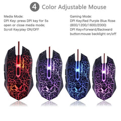 USB Wire Gaming keyboard and Mouse Combo 3 Color Blue/Red/Purple LED Backlit