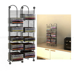 Durable Steel 33 100-CD Home Media Storage Rack Tower Nestable W/ Sturdy Base