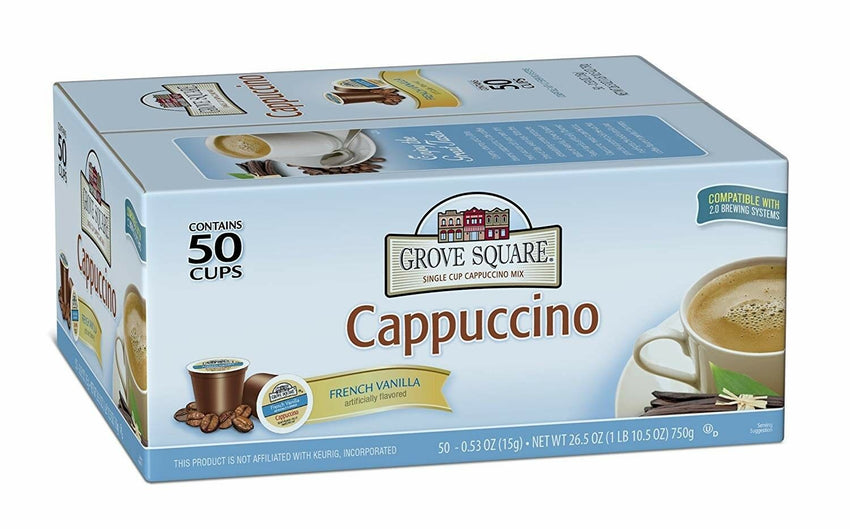 50 Count Grove Square Cappuccino French Vanilla 50 Count K-Cups Keurig Coffee