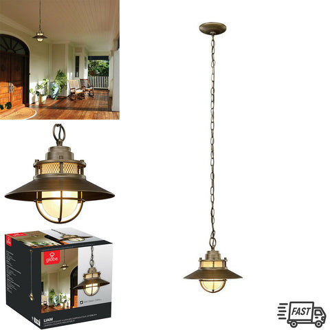 Outdoor Pendant Ceiling Light Bronze Vintage Hanging Chain Front Porch Decor