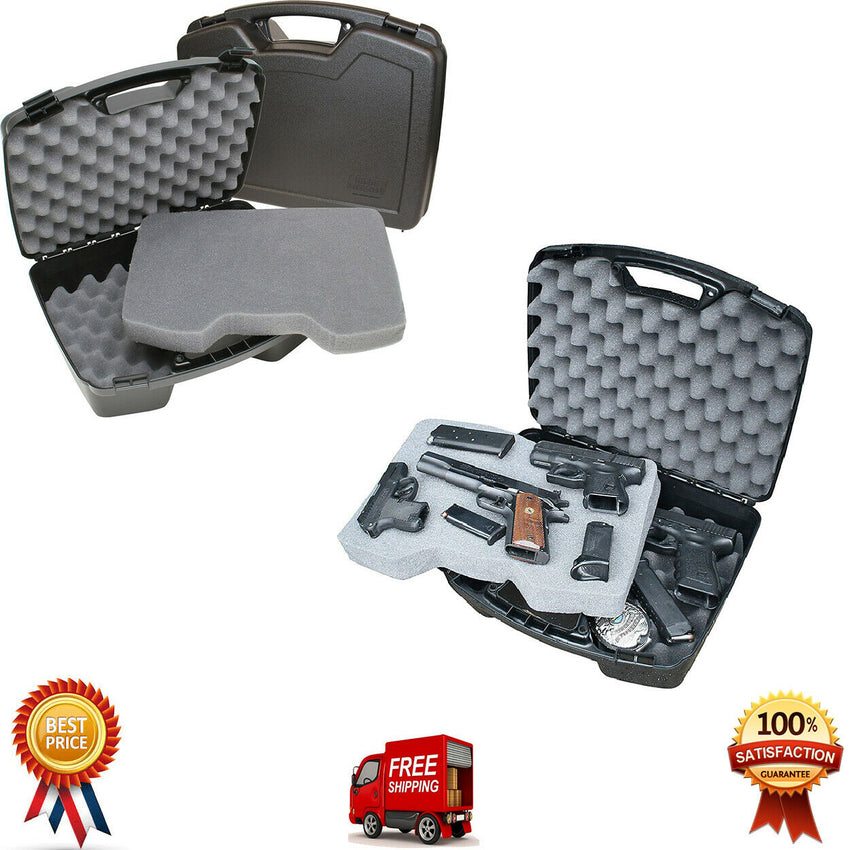 "Pistol Box 4 Handgun 8"" Barrel Large Hard Case Paintball Revolver Gun Storage"