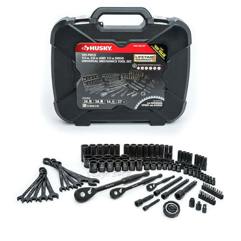NEW Mechanics Tool Set SAE Metric Husky (105-Pieces) 1/4 in. 3/8 in 1/2 in Drive