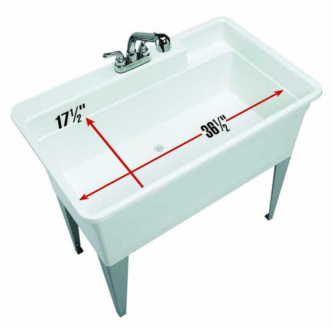 Large Utility Tub Sink Floor Mount Pull-Out Faucet No Leaks Dog Baths Laundry