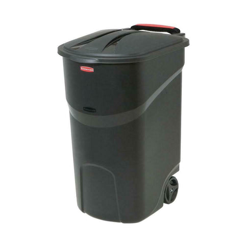 Rubbermaid Roughneck Trash Can With Lid 45 Gal. Black Wheeled Garbage Bin