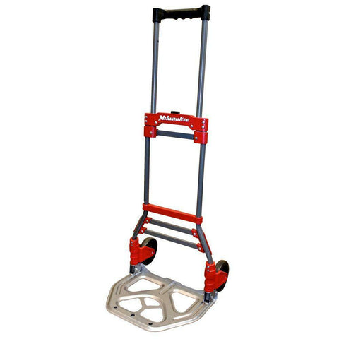 Milwaukee 150-lb Capacity Red Steel Folding Hand Truck Magna Ideal Heavy Cart