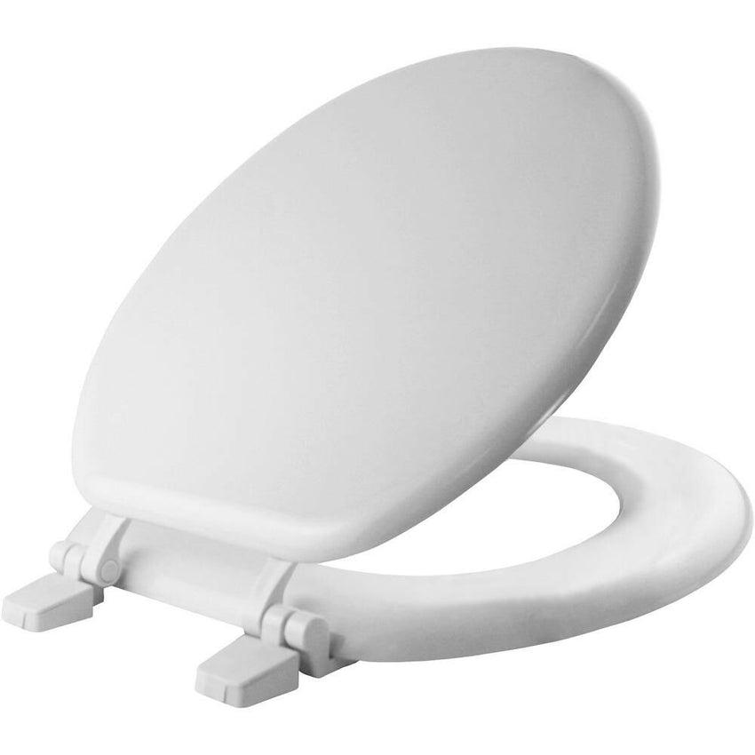 ROUND CLOSED FRONT TOILET SEAT Bathroom Molded Wood Gloss White