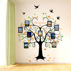 Grande Decoracion Pared 3D DIY Marco Fotos Amor Arbol de Familia Aves Stickers