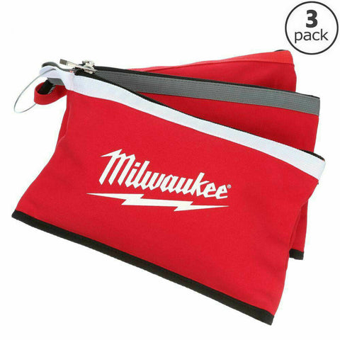 NEW Milwaukee Tool Zipper Bag 12 Inch Pouch Storage 3 Pack Red Tote Bag Durable
