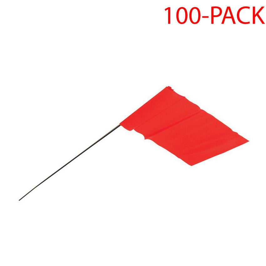 Bright Orange Flagging Stakes 100-PACK Marking Contractor Indicator Irrigation
