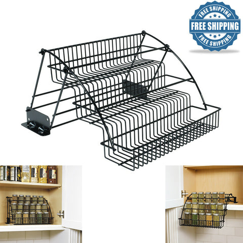 Rubbermaid Pull-Down Cabinet Spice Metal Rack Tier Organizer Wire Holder Storage
