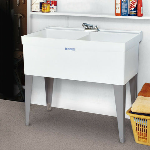 Freestanding Twin Slop Sink Double Laundry Floor Washtub Garage Basement No Leak
