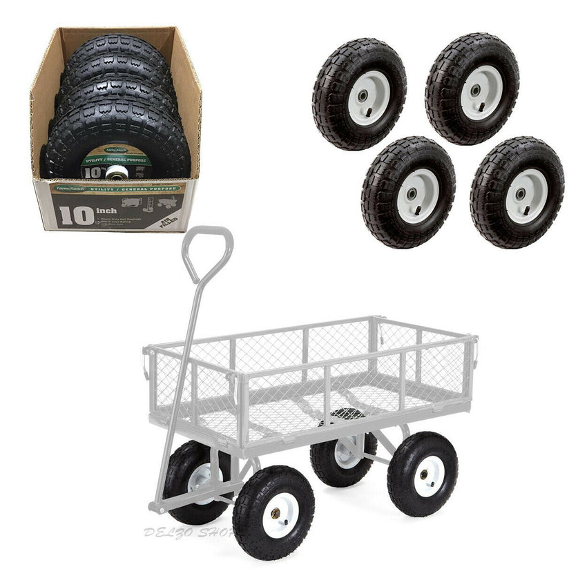 Replacement Hand Trucks Pneumatic Tires 10-in 4-PACK Lawn Garden Cart Heavy Duty