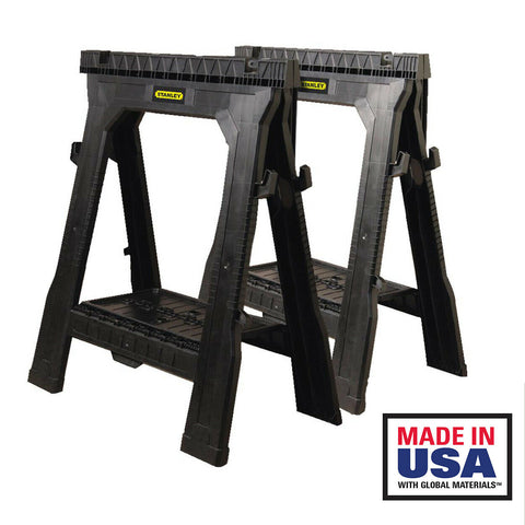 Stanley 31 in Folding Sawhorse (2 Pack) Portable Sturdy Saw Horse Tray Stand Set