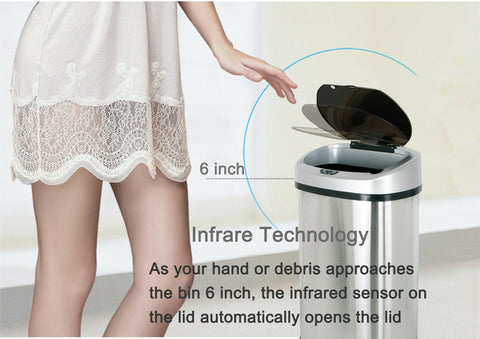 Trash Can Garbage Touchless Sensor Automatic Stainless Steel Touch Free Motion