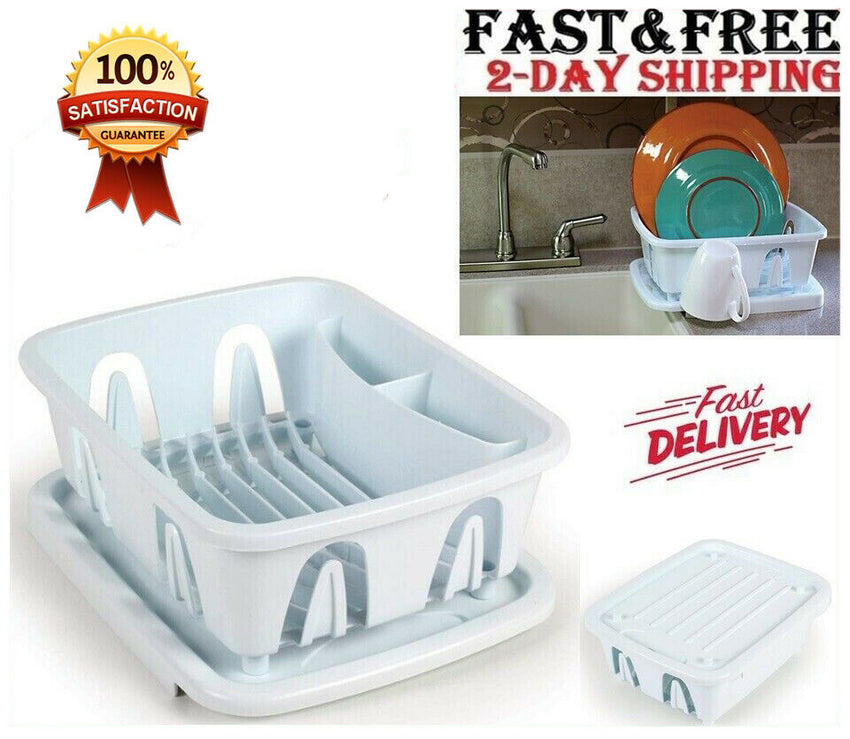 Mini Dish Drying Rack Drainer Drain Dryer Strainer Sink Dishes w Tray Small RV