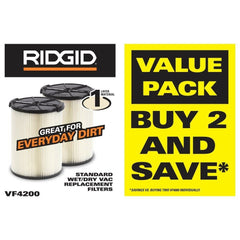 RIDGID 2 Pack Filters Wet Dry Shop Vac 5 Gallon Vacuum Cleaner Parts