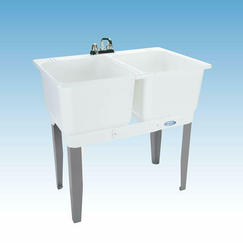 Freestanding Twin Bowl Laundry Tub Sink Washing Mustee Utility Garage Drain NEW