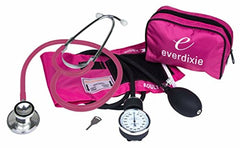 Blood Pressure and Dual Head Stethoscope Cuff Kit Combo w. Carrying Case PINK