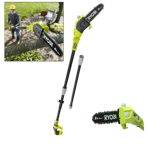 Cordless Pole Saw Ryobi 8 In Trimmer Pruner Tree Telescoping 18V Power Tool Only
