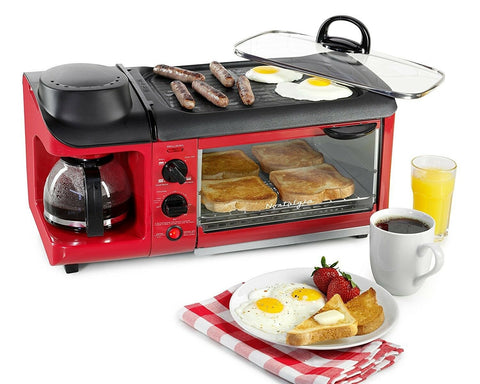 Nostalgia Toaster Oven Coffee Maker Combo Home Kitchen 3 in 1 Breakfast Station