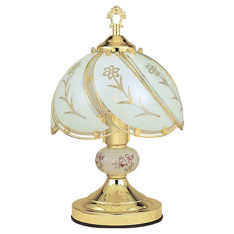 Decorative Gold Flower Touch Table Lamp Vintage Bedroom Desk 3-Way Sensor 14in