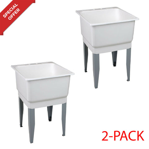 NEW 2-PACK Utility Sink Laundry Tub Floor Mount Single Faucet Bowl Basin White