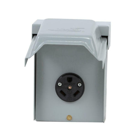 30 Amp Temporary RV Power Outlet Electric Outdoor Receptacle Plug Housing Box
