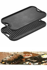 Large Cast Iron Reversible Flat and Grill Side Black 20 x 10 Cooking Durable NEW