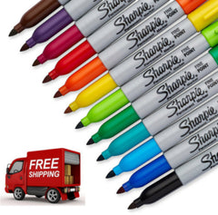 MultiColor Permanent Marker Pen 12 Set Fine Point Assorted Drawing Painting Art