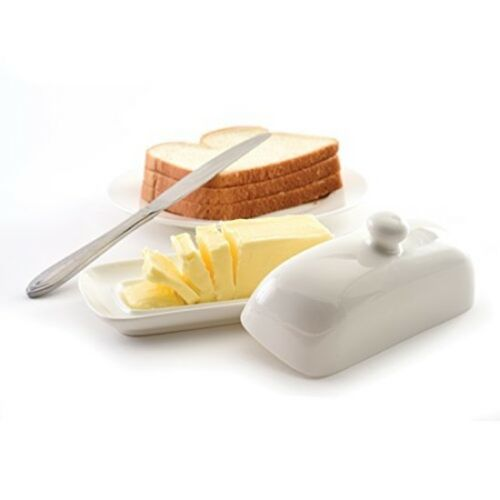 Porcelain Butter Dish w/ Lid Norpro Stick Knob Handle Dishes Counter Table Holds