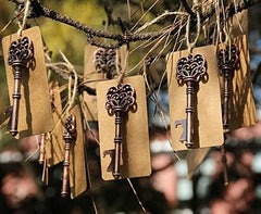 50pcs Vintage Wedding Favors Skeleton Key Bottle Opener with Escort Tag Card NEW