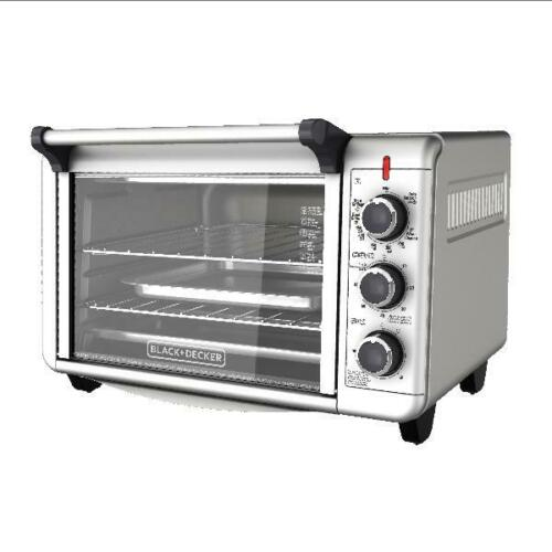 "Black+Decker Toaster Oven Countertip Kitchen 12"" Pizza Three Racks Timer Baking"
