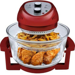 Oil-less Air Fryer 16 Quart 1300 W, Red, Fry Bake Grill Healthy Cooking w. Timer