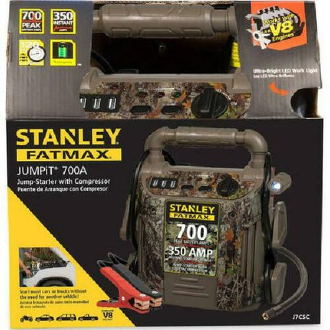 Camo Jump Starter 700 Amp with Air Compressor Charging Ports Flashlight Portable