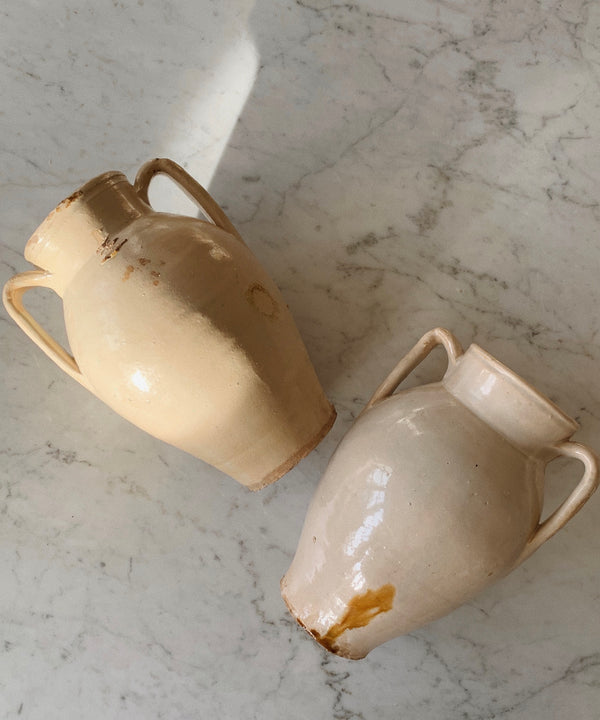 antique cream beige vases puglia