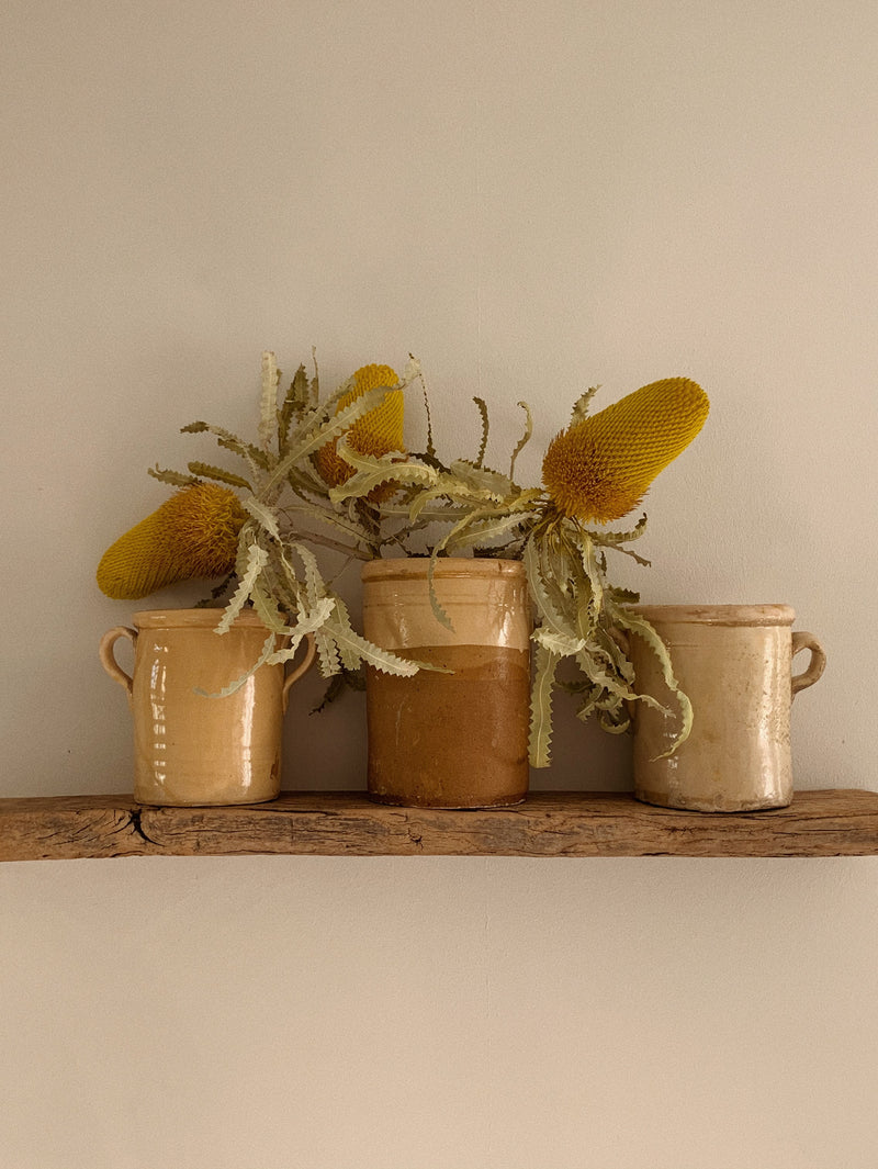 antique mustard yellow pots puglia