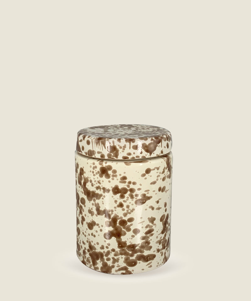 brown splatter ceramics canister small