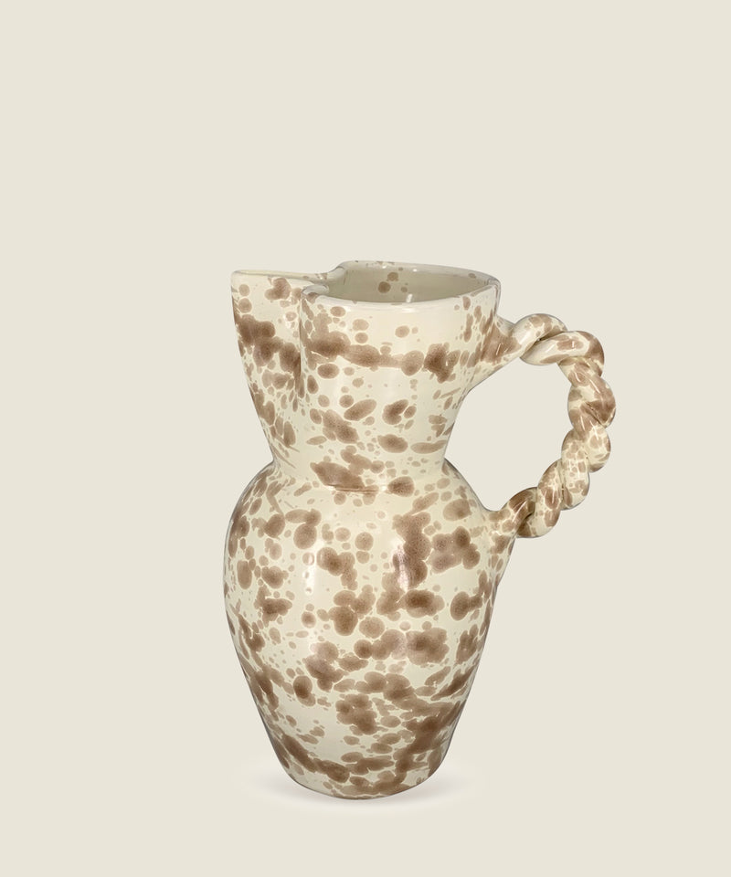 brown splatter ceramics twist handle pitcher