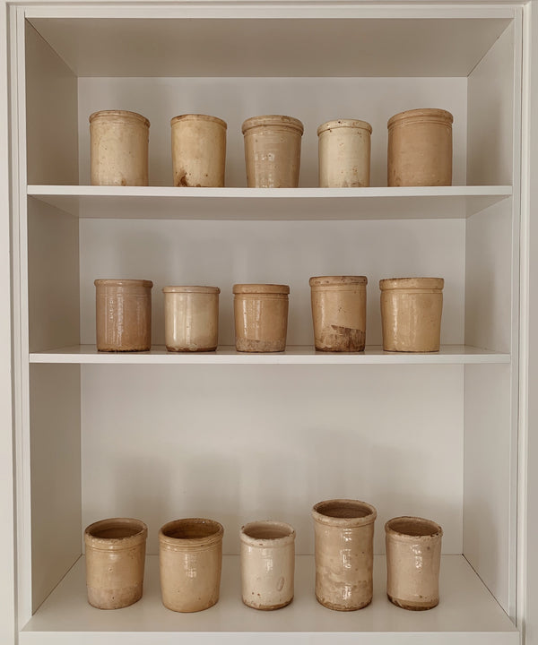 simple antique cream beige pots puglia