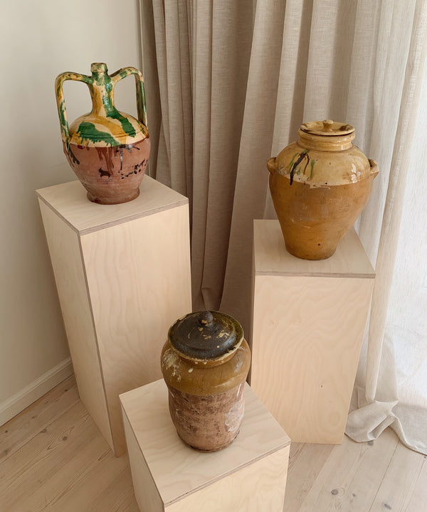 the slow hut antiwue mustard green vases