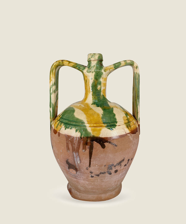 the slow hut antique mustard green splatter vase