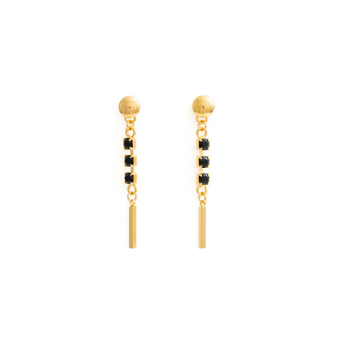 GOLD AND BLACK CRYSTAL DANGLING EARRINGS