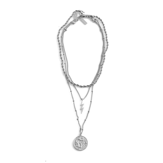 CARMEN Necklace Set stainless steel and lightning bolt charm medallion