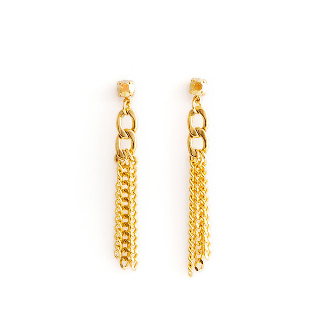 EDGE Crystal Earrings Gold