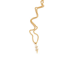 Load image into Gallery viewer, Gold necklace lightning pendant with zirconia
